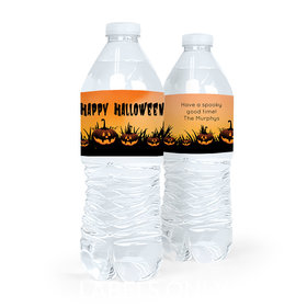 Personalized Halloween Jack-o'-lanterns Water Bottle Labels (5 Labels)