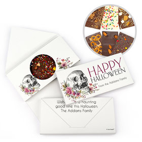 Personalized Halloween Floral Skull Bar Gourmet Infused Belgian Chocolate Bars (3.5oz)