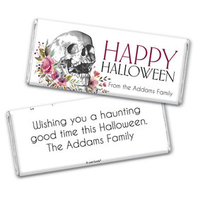 Personalized Halloween Floral Skull Chocolate Bar & Wrapper