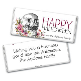 Personalized Halloween Floral Skull Chocolate Bar Wrappers Only