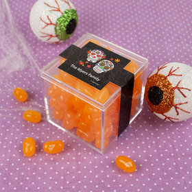 Personalized Halloween Festive Sugar Skulls JUST CANDY® favor cube with Jelly Belly Jelly Beans