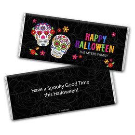 Personalized Halloween Festive Sugar Skull Chocolate Bar Wrappers