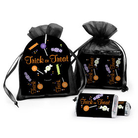 Personalized Halloween No Tricks Just Treats Hershey's Miniatures in Organza Bags with Gift Tag