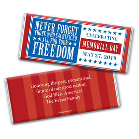 Personalized Patriotic Themed Chocolate Bar Never Forget