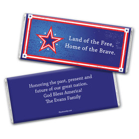 Personalized Patriotic Chocolate Bar Wrappers Patriotic Star