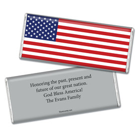 Fourth of July Personalized Chocolate Bar Patriotic American Flag