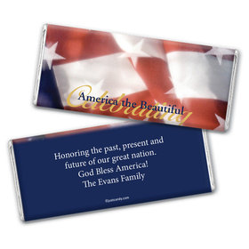 Personalized Patriotic Chocolate Bar Wrappers America the Beautiful Patriotic Flag
