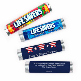 Personalized Independence Day Stars and Stripes Lifesavers Rolls (20 Rolls)