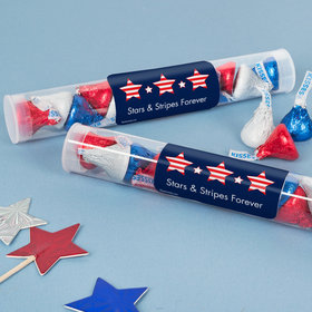 Patriotic Gumball Tube with Stars & Stripes Hershey's Kisses