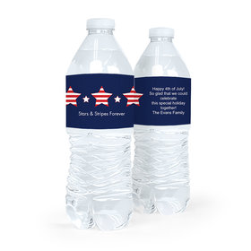 Personalized Independence Day Stars & Stripes Water Bottle Labels (5 Labels)