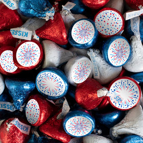 Patriotic Hershey's Kisses Candy with Fireworks Stickers