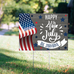 Personalized 4th of July Yard Sign - Rustic