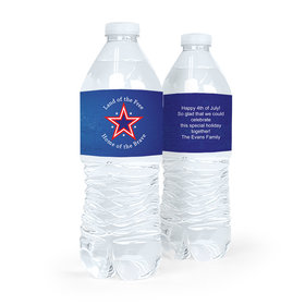 Personalized Independence Day Patriotic Star Water Bottle Labels (5 Labels)