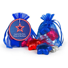 Personalized Independence Day Patriotic Star Milk Chocolate Stars in Organza Bags with Gift Tag