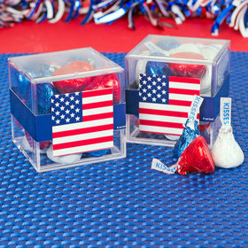 4th of July JUST CANDY® favor cube with Hershey's Kisses