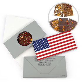 Personalized American Flag Gourmet Infused Belgian Chocolate Bars (3.5oz)