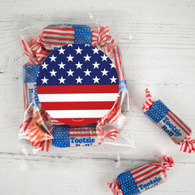 Patriotic Flag Candy Bags with Tootsie Roll Stars & Stripes Midgees