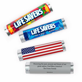 Personalized Independence Day Patriotic American Flag Lifesavers Rolls (20 Rolls)