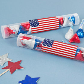 American Flag Tube with Patriotic Hershey's Kisses