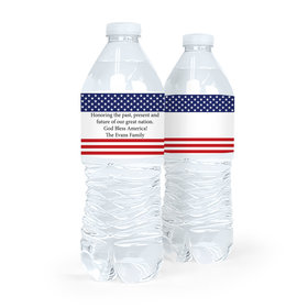 Personalized Independence Day American Flag Water Bottle Labels (5 Labels)
