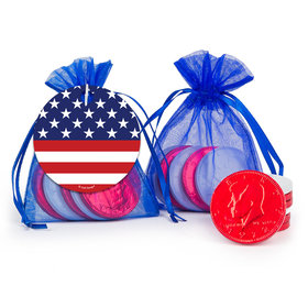 Independence Day Stars & Stripes Milk Chocolate Coins in Organza Bags with Gift Tag