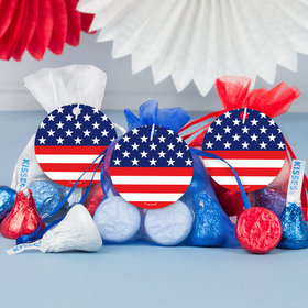 Independence Day Stars & Stripes Milk Chocolate Kisses in Organza Bags with Gift Tag (3 Pack)