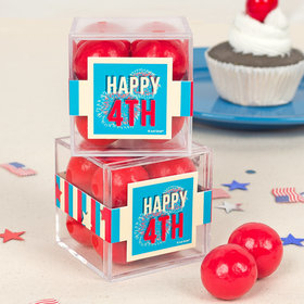 4th of July JUST CANDY® favor cube with Premium Malted Milk Balls