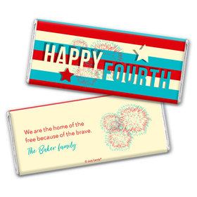 Personalized 4th of July Star Spangled Stripes Chocolate Bar & Wrapper