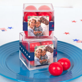 Personalized 4th of July JUST CANDY® favor cube with Premium Malted Milk Balls