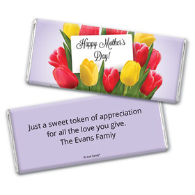 Mother's Day Personalized Chocolate Bar Wrappers Tulip Bouquet