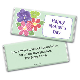 Mother's Day Personalized Chocolate Bar Wrappers Quilted Flowers