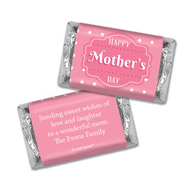 Mother's Day Personalized Hershey's Miniatures Wrappers Tiny Polka Dots and Pink