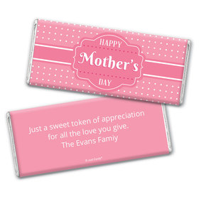 Mother's Day Personalized Chocolate Bar Wrappers Tiny Polka Dots and Pink