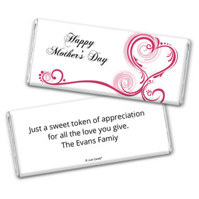Mother's Day Personalized Chocolate Bar Wrappers Swirl Hearts