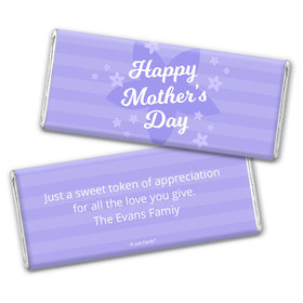 Personalized Mother's Day Purple Flowers Chocolate Bar & Wrapper