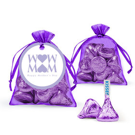 Mother's Day Heart Hershey's Kisses in Organza Bags with Gift Tag