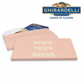 Deluxe Personalized Mother's Day Wife Mom Boss Ghirardelli Chocolate Bar in Gift Box