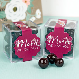 Personalized Mother's Day JUST CANDY® favor cube with Premium Barrel Aged Bourbon Cordials - Dark Chocolate