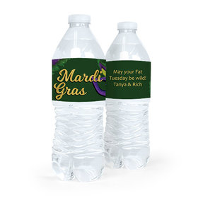 Personalized Mardi Gras Masquerade Water Bottle Sticker Labels (5 Labels)