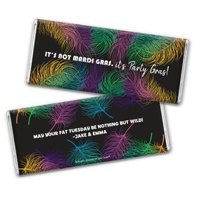Personalized Mardi Gras Party Feathers Hershey's Chocolate Bar & Wrapper