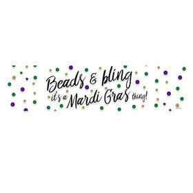 Mardi Gras Beads & Bling 5 Ft. Banner
