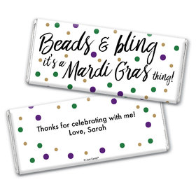 Personalized Mardi Gras Beads & Bling Chocolate Bar Wrappers Only