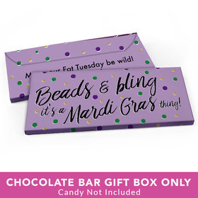 Deluxe Personalized Mardi Gras Beads & Bling Candy Bar Favor Box
