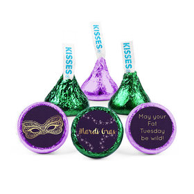 Personalized Mardi Gras Golden Elegance Hershey's Kisses (50 Pack)