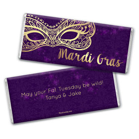 Personalized Mardi Gras Golden Elegance Chocolate Bar & Wrapper