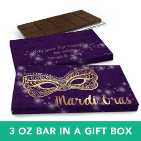 Deluxe Personalized Mardi Gras Golden Elegance Chocolate Bar in Gift Box (3oz Bar)