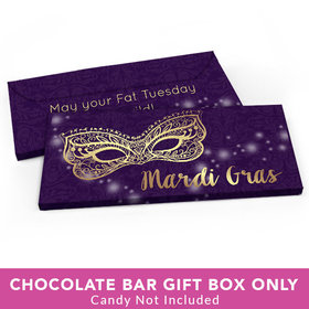 Deluxe Personalized Mardi Gras Golden Elegance Candy Bar Favor Box
