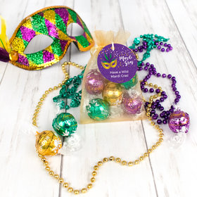 Personalized Mardi Gras Big Easy Lindor Truffles by Lindt in Organza Bags with Gift Tag