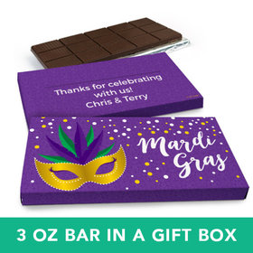 Deluxe Personalized Mardi Gras Big Easy Chocolate Bar in Gift Box (3oz Bar)