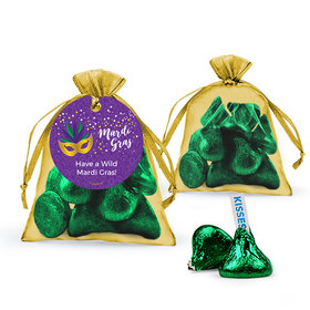 Personalized Mardi Gras Big Easy Hershey's Kisses in Organza Bags with Gift Tag